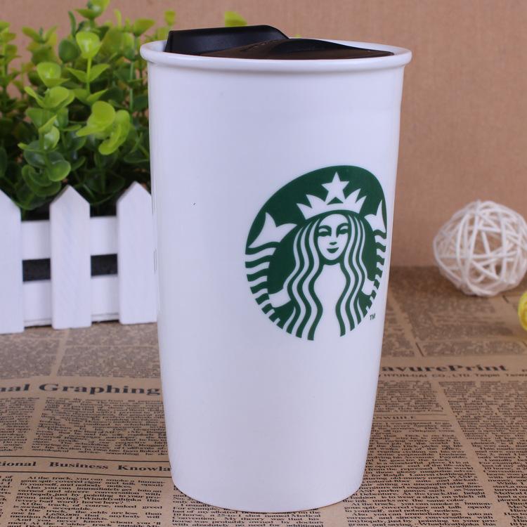 星巴克款式双层陶瓷杯定做