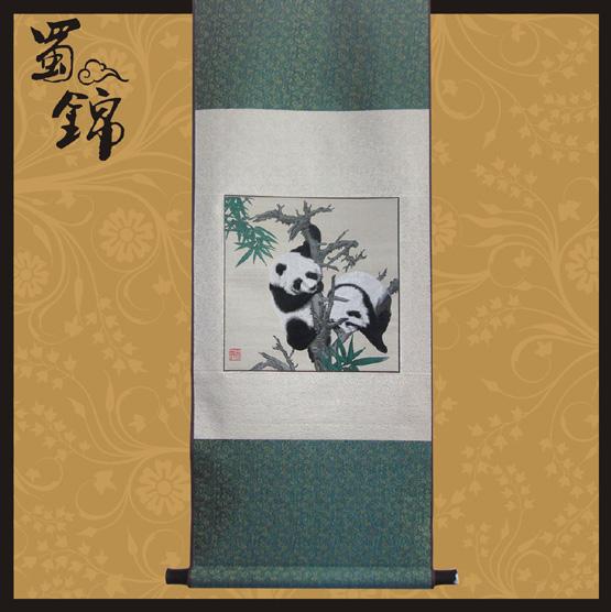 蜀锦熊猫嬉戏