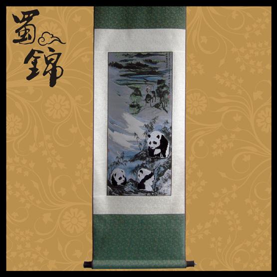 蜀锦产品:牧童熊猫