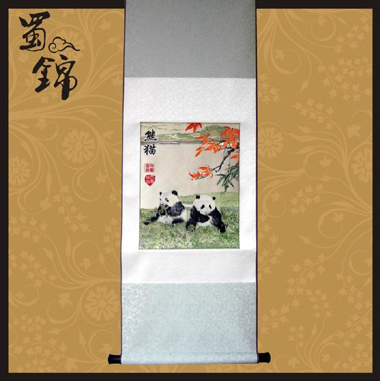 四川蜀锦枫叶熊猫