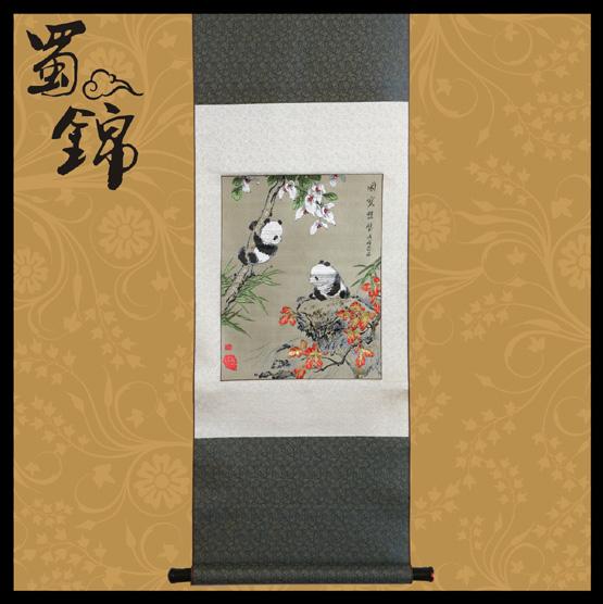 蜀锦熊猫图案:天伦之乐