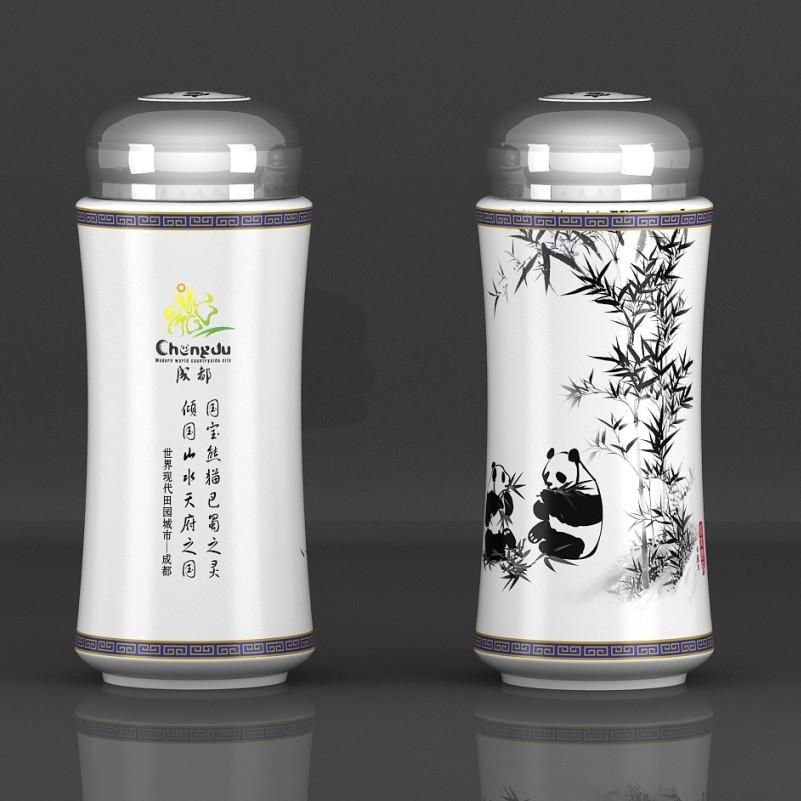 熊猫图案水杯
