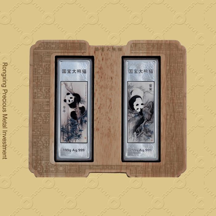 熊猫纪念银条100g*2条装