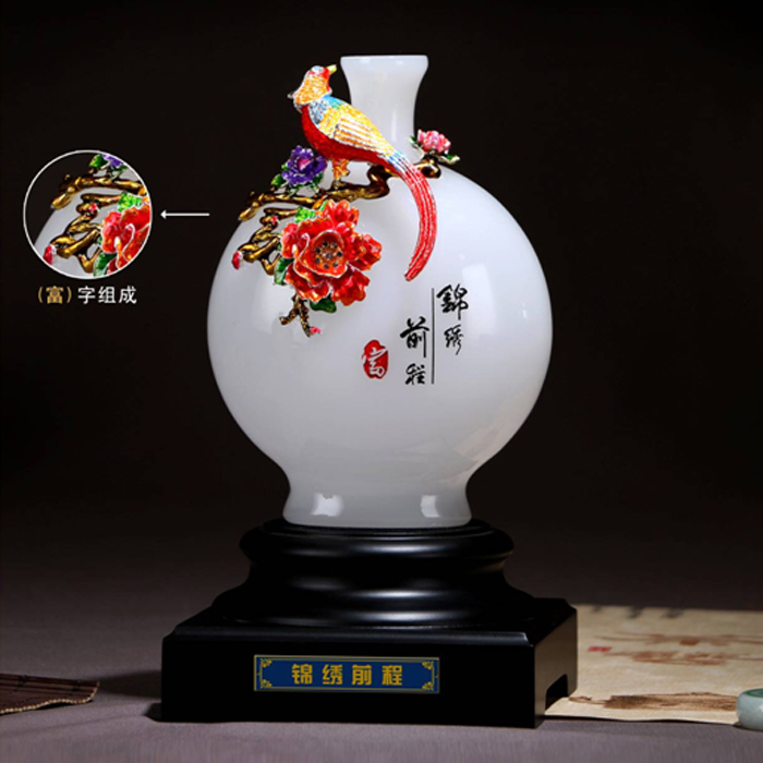 锦绣前程珐琅彩花瓶