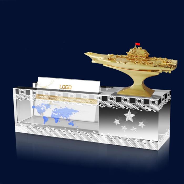 航母模型水晶摆件